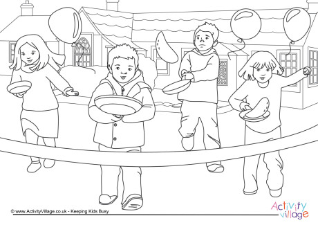 Pancake Day Race Colouring Page