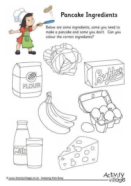 Pancake Ingredients Colouring Worksheet