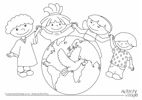 Peace Day Colouring Page