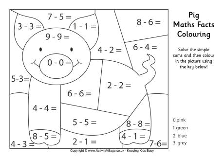 Pig Maths Fact Colouring Page