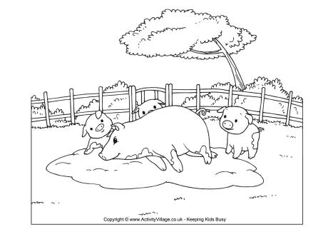 Pig Scene Colouring Page
