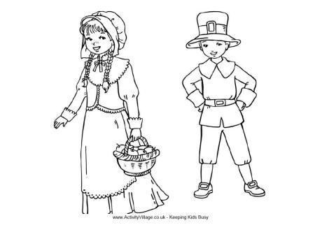 Pilgrim Children Colouring Page