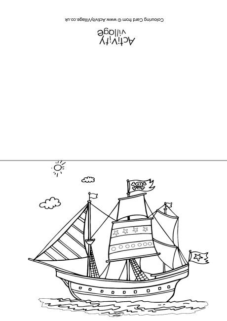 Pirate Ship Colouring Card