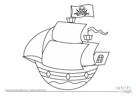 Pirate Ship Colouring Page 1