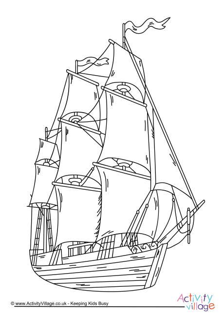 Pirate Ship Colouring Page 4