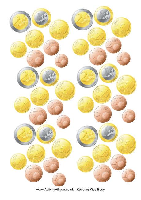 Monedas de euro para imprimir gratis