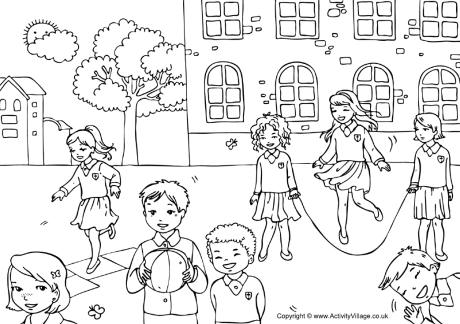 Playground Colouring Page