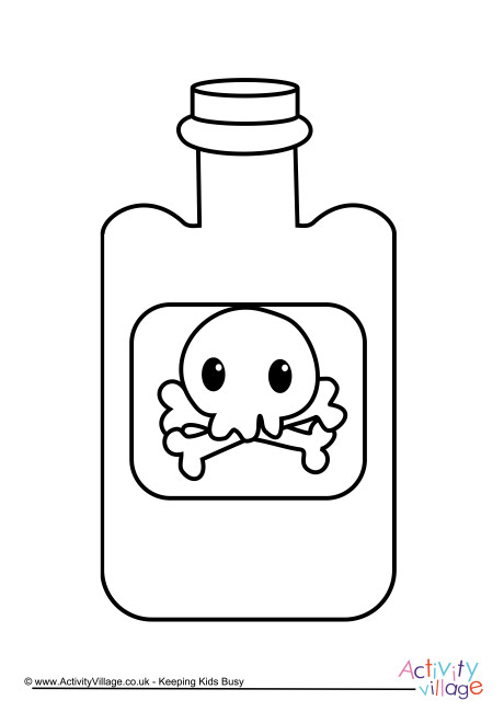 Poison Bottle Colouring Page