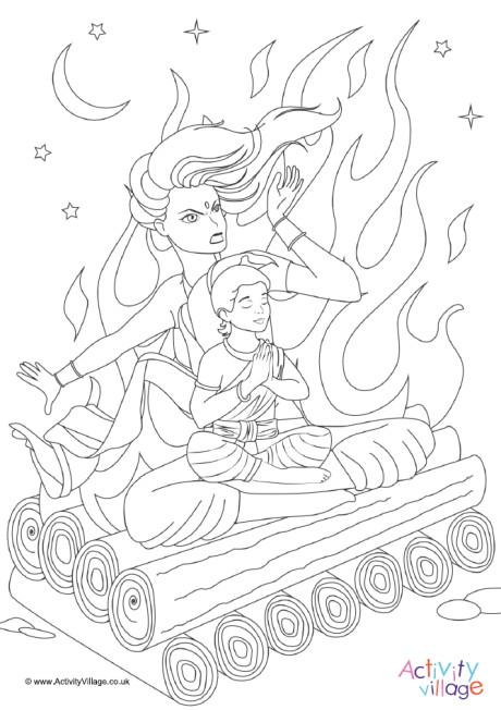 Prahlad and Holika Colouring Page