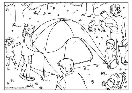 Putting Up the Tent Colouring Page