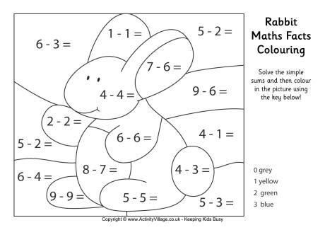 Rabbit Maths Facts Colouring Page