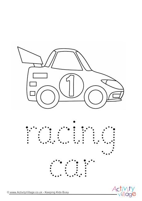Racing Car Word Tracing