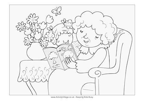 Reading with Grandma Colouring Page