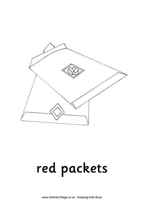 Red Packets Colouring Page