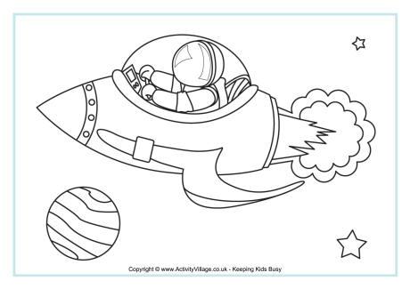 Rocket Ship Colouring Page