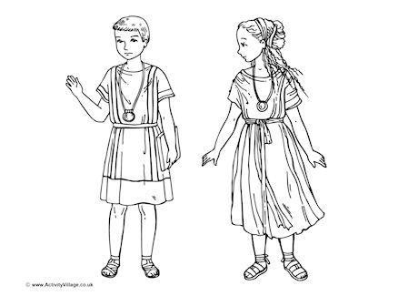Roman Children Colouring Page