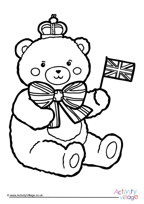 Royal Teddy Colouring Page