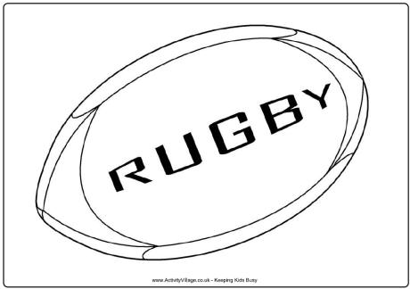 Rugby Ball Colouring Page