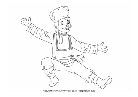 Russian Dancer Colouring Page