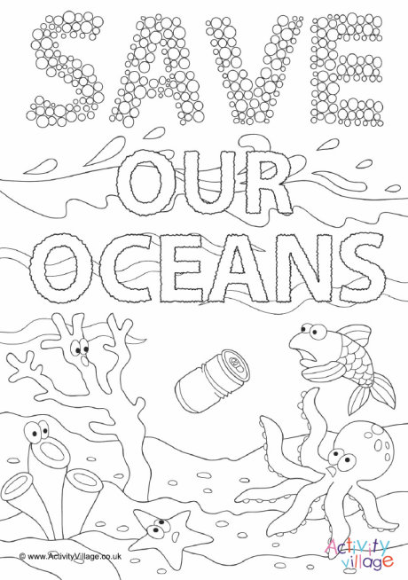 Save Our Oceans Colouring Page