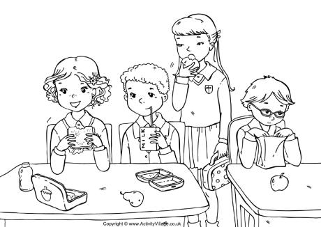 School Lunch Colouring Page