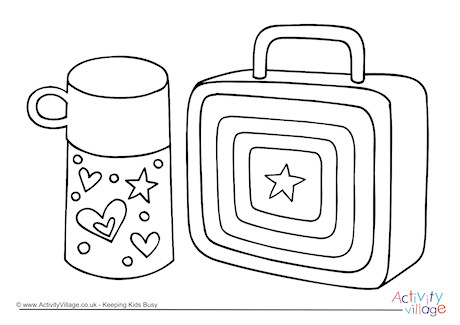 School Lunch Tray Page Coloring Pages