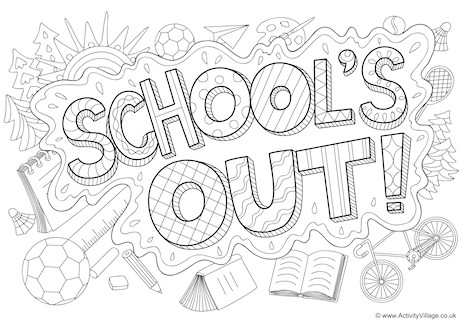 School's Out Doodle Colouring Page