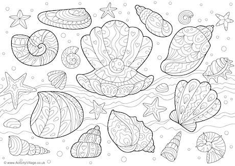 Sea Shells Doodle Colouring Page