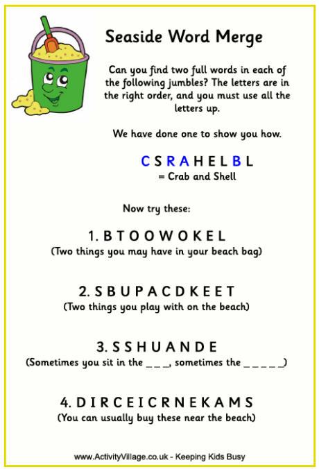 Seaside Word Merge Puzzle For Kids