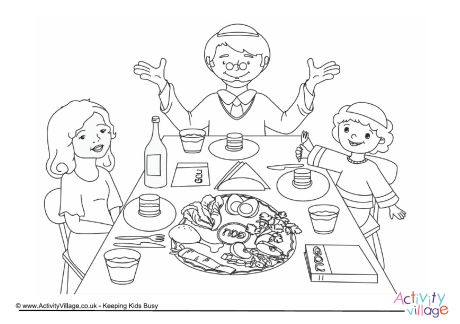 Seder Meal Colouring Page