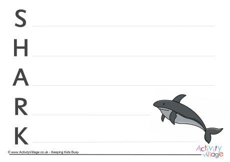 Shark Acrostic Poem Printable
