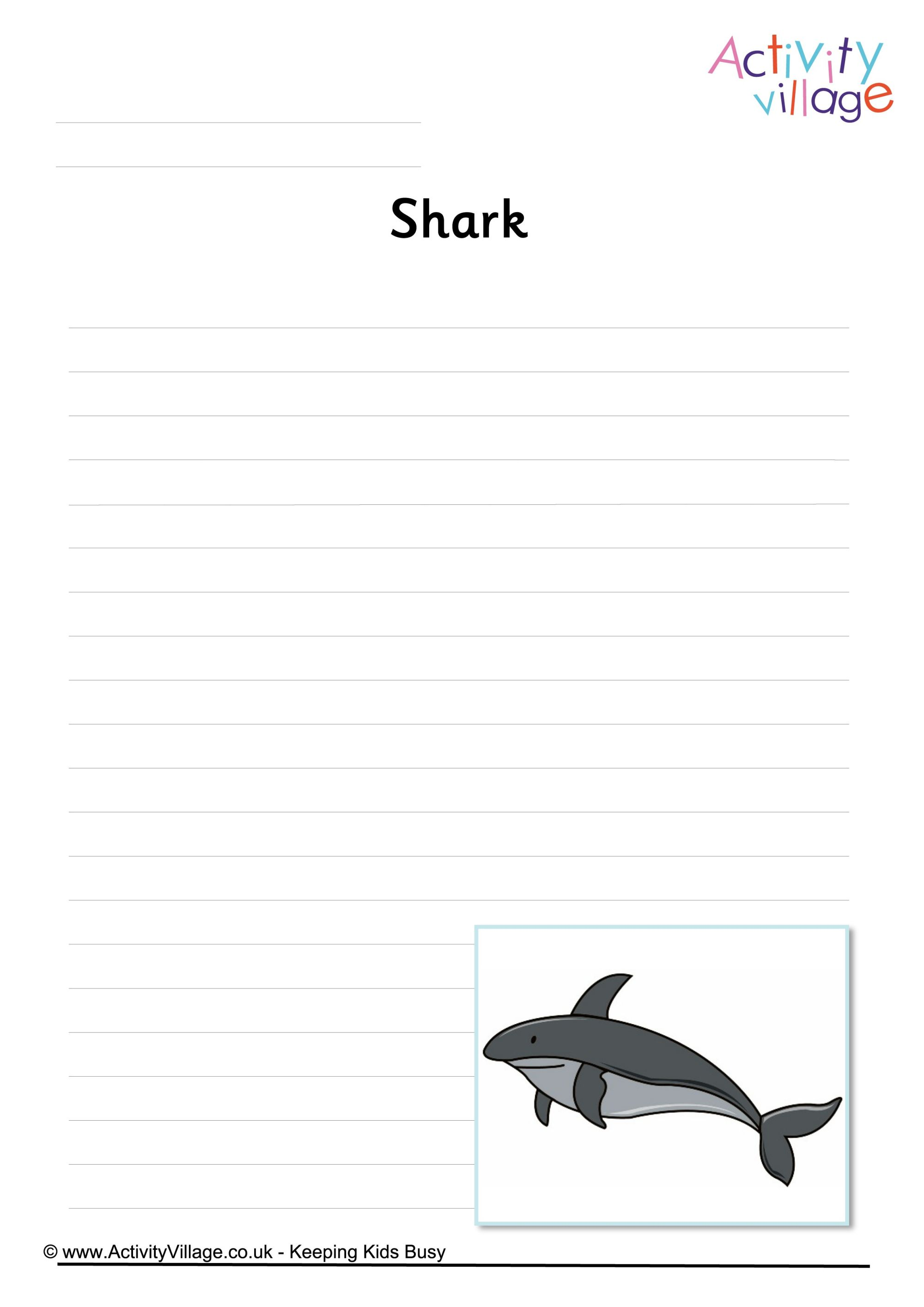 Shark Writing Page