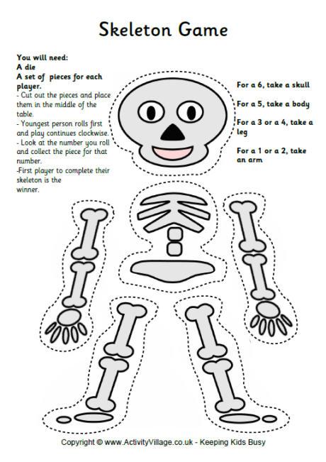 Printable Skeleton Game