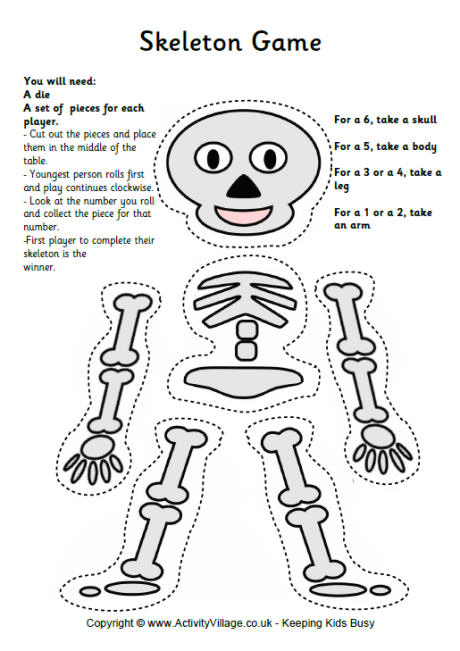 Printable Skeleton Game