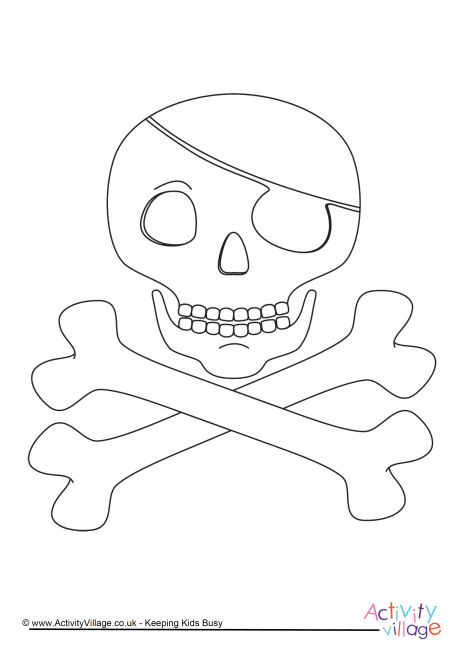 Skull and Crossbones Colouring Page