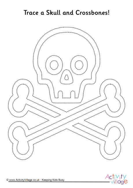 Skull and Crossbones Tracing Page