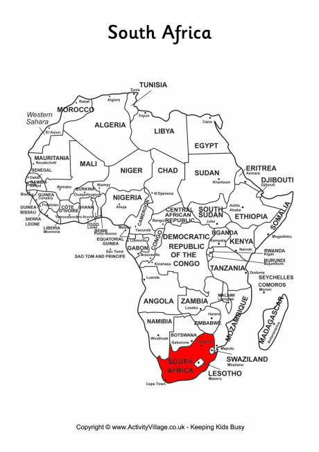 South Africa on map of Africa
