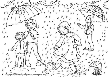 Spring Showers Colouring Page