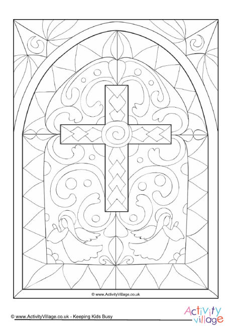 Stained Glass Window Colouring Page