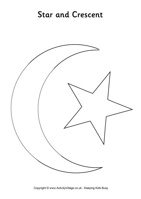 Star and Crescent Colouring Page