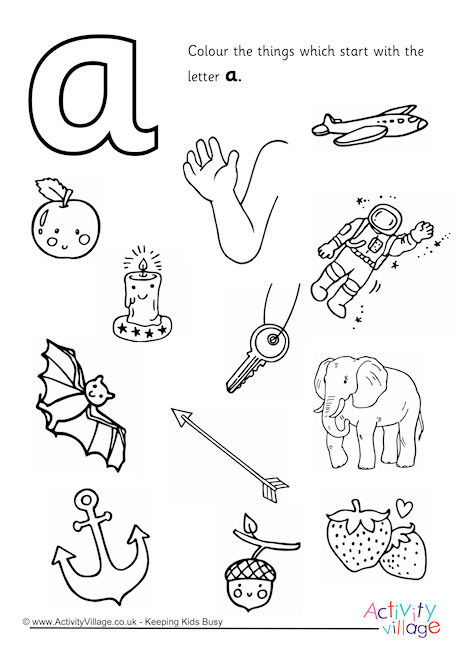 Start With The Letter A Colouring Page