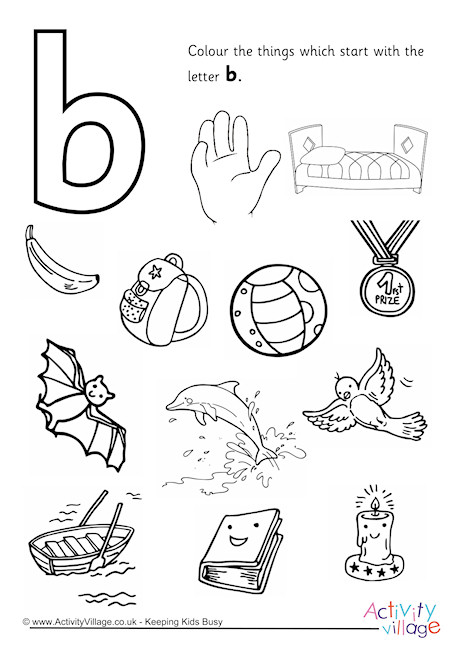 Start With The Letter B Colouring Page