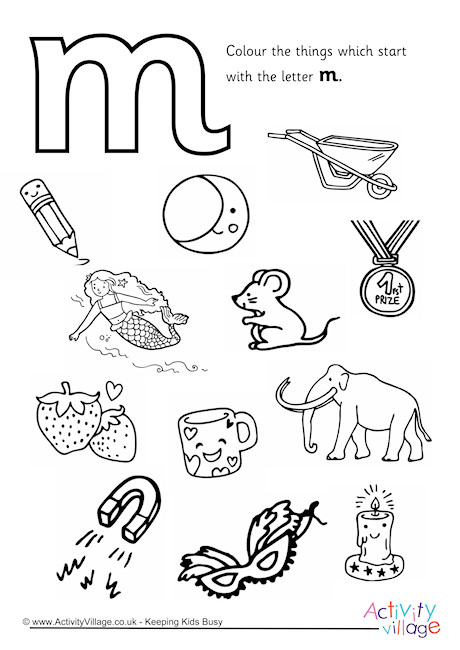 Start With The Letter M Colouring Page