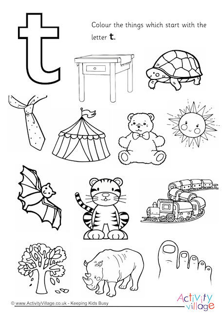 Start With The Letter T Colouring Page