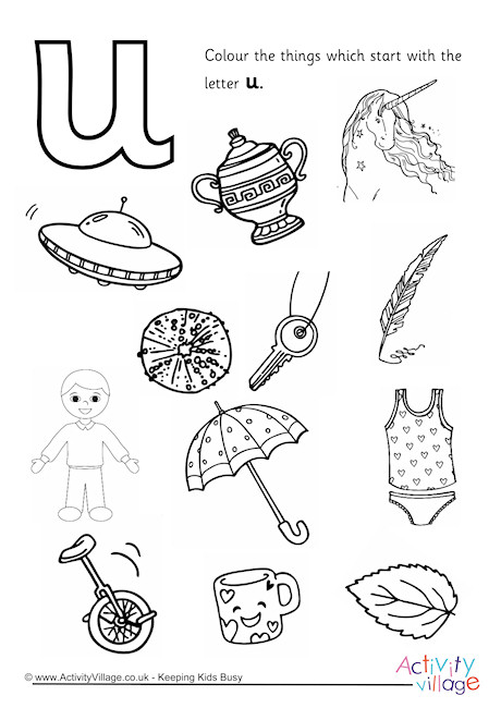 Start With The Letter U Colouring Page