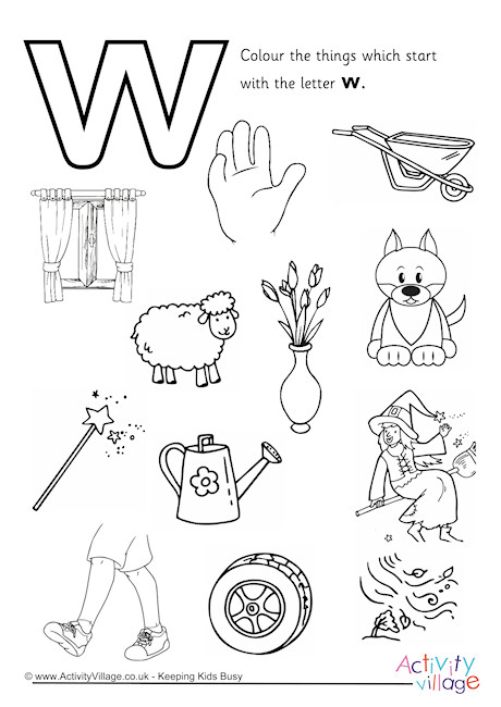 Start With The Letter W Colouring Page