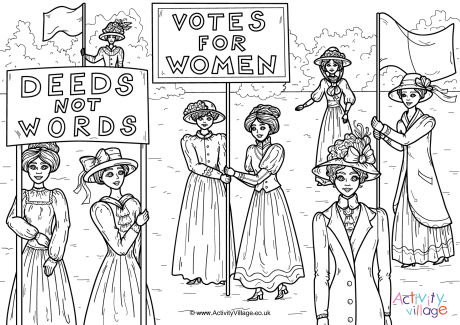 Suffragettes Colouring Page