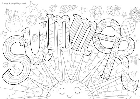 Summer Doodle Colouring Page