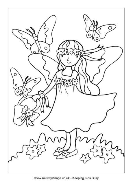 Summer Fairy Colouring Page
