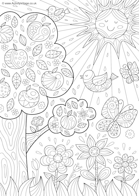 Summer Nature Doodle Colouring Page